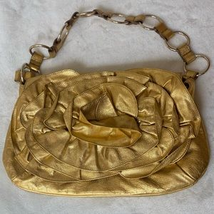 YSL 💛 rare gold leather evening bag 💯 authentic